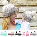 Kids Baby Toddler Girl Unsex Cap & Mom Knit Warm Soft Beanie Hat Hairball Cap Family Matching Hats