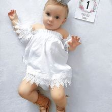 2017 Cute Infant Baby Girl Short Sleeve Cotton Lace Baby Girl Dresses Clothing New