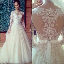 Free Shipping High Quality Appliques Pattern Beaded Puffy Lace Long Sleeve Wedding Dress