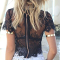 New Womens Black White Tee Shirts Tops Sexy Lace Beach Casual Crochet Zipper Back Tshirts Mesh Boho Cover Up Camis Chemise