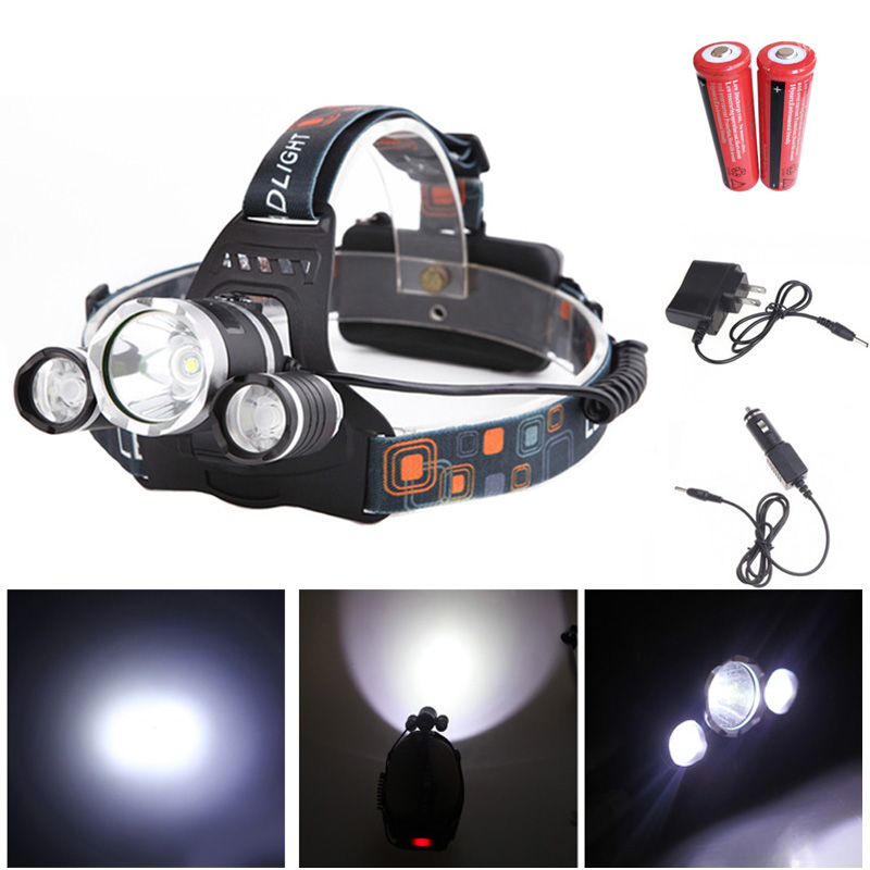3000LM LED Headlamp 4 Modes Rechargeable Headlight Head Lamp Spotlight For Hunting Charger 2 PCS 18650