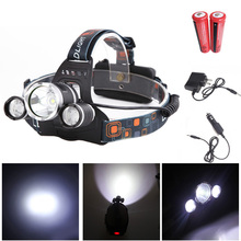 3000LM LED Headlamp 4 Modes Rechargeable Headlight Head Lamp Spotlight For Hunting + Charger +2 PCS 18650