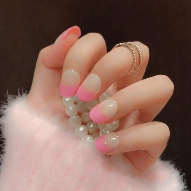 Cute Style French Nail Design Tips Pink Nature Color Short Round