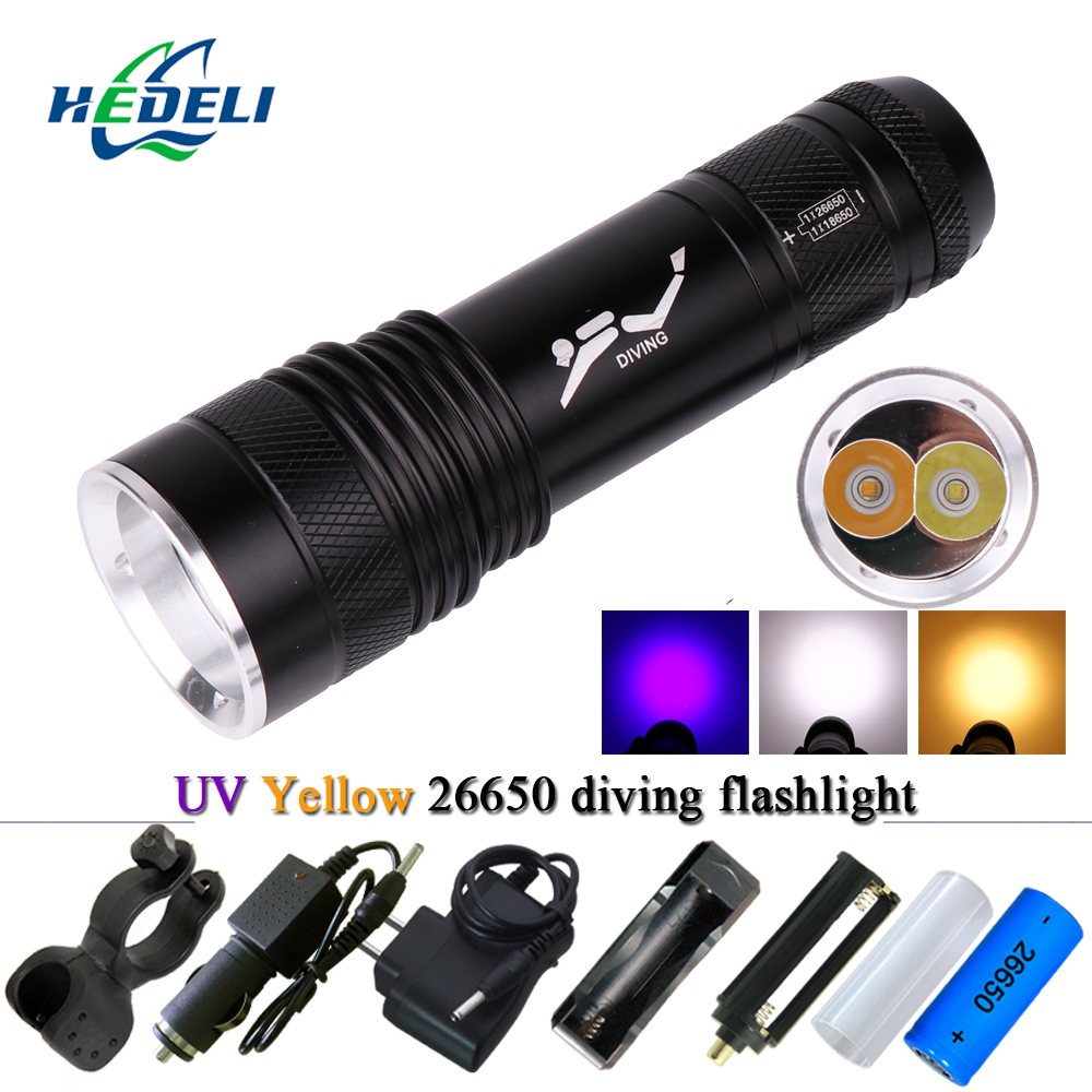 scuba flashlights diving flashlight uv purple light xml t6 waterproof torch Underwater lanterna 26650 or 18650 or AAA battery цена 2017