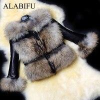 ALABIFU Winter PU Leather Faux Fur Coat Women 2018 Casual Plus Size Fluffy Collar Outwear Jacket Coat Warm Hairy Fur Coat 3XL