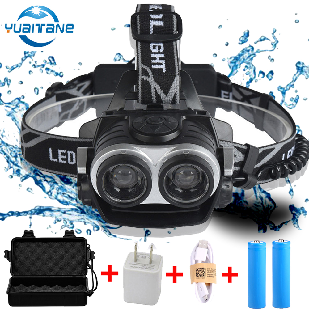 LED Headlamp 2*T6 Zoomable Focus LED Headlight Torch Head Lamp USB Rechargeable Lantern FlashLight Use 2* 18650 Battery