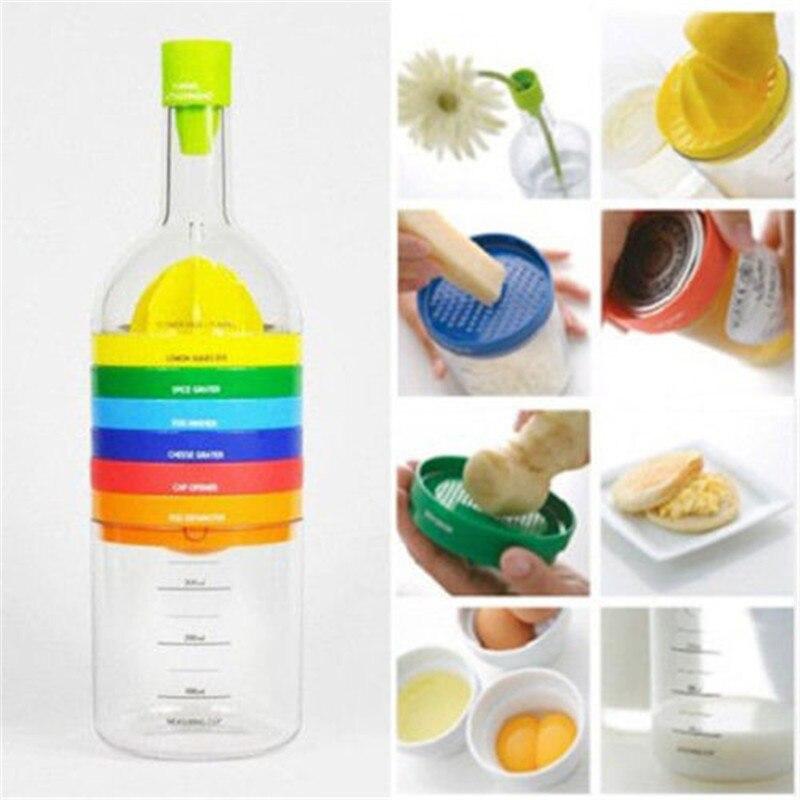 New Multifunction 8 In 1 Kitchen Tools Bottle Shape Professional Slicer Grater Grinder Funnel Measuring Cup