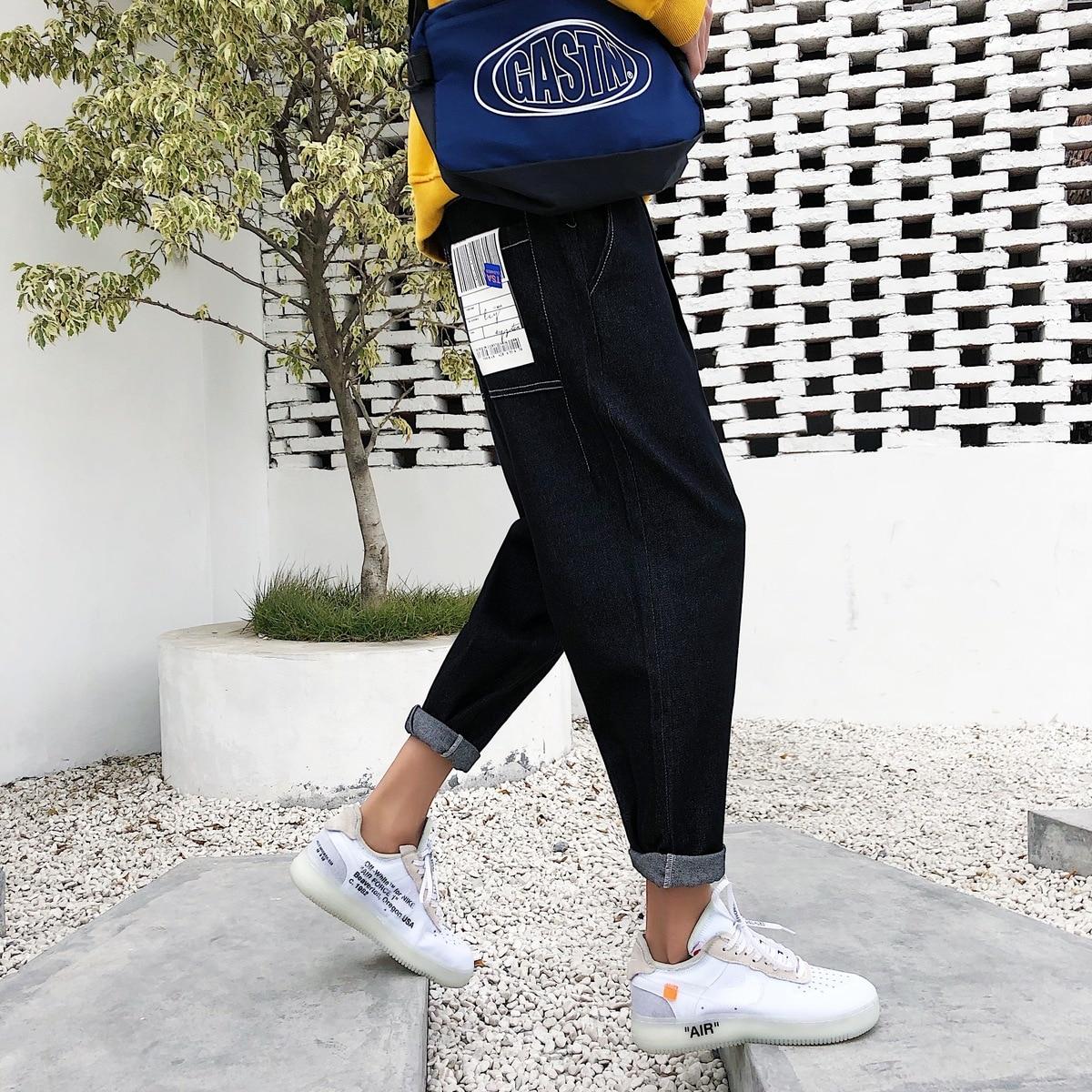 Image 4 - 2019 New Mens Biker Stretch Loose Classic PATCH Jeans Holes  Denim Famous Brand Casual Straight Harem Pants Blue/black  TrousersJeans