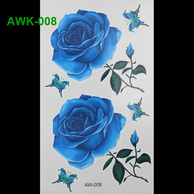 3D Dazzle Colour Waterproof Body Art Tatto Hot Flashes Temporary Tattoos BLUELOVER ROSE TATTOO Scar DIY Temporary Tatoo