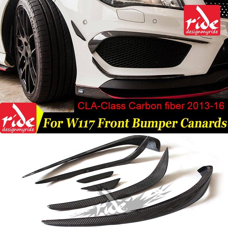 W117 6 pcs Gloss fibra de carbono do amortecedor dianteiro spoiler canard divisores para Mercedes Benz W117 CLA200 CLA250 CLA45AMG flap 2013 -2016