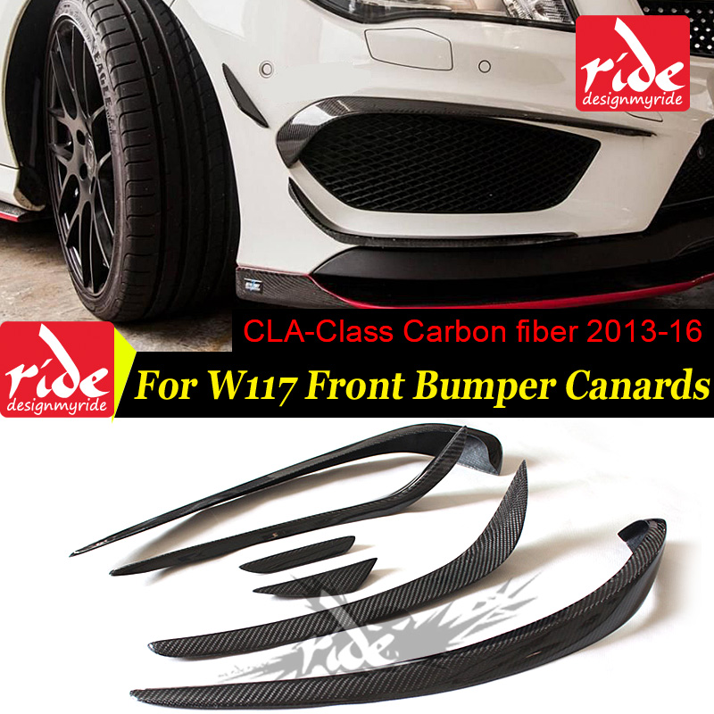 W117 6pcs Gloss carbon fiber front bumper spoiler flap canard splitters for Mercedes Benz W117 CLA200 CLA250 CLA45AMG 2013 2016-in Bumpers from Automobiles & Motorcycles    1