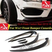 W117 6pcs Gloss carbon fiber front bumper spoiler flap canard splitters for Mercedes Benz W117 CLA200 CLA250 CLA45AMG 2013-2016 цена и фото