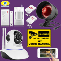 Golden Security Siren Loud Alarm System 720P HD Wireless IP Camera Night Vision Audio Network CCTV Indoor Alarm System Camera
