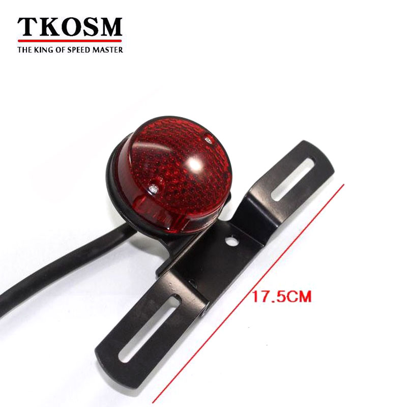 TKOSM High Quality Motorcycle Princes Car Refire Vintage Rear Light Rear Brake Lamp Assembly After the License Plate Frame Lamp