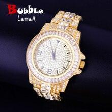 Horloge à Quartz étanche, grand cadran, montre de luxe, bracelet, strass, Business, montre pour hommes