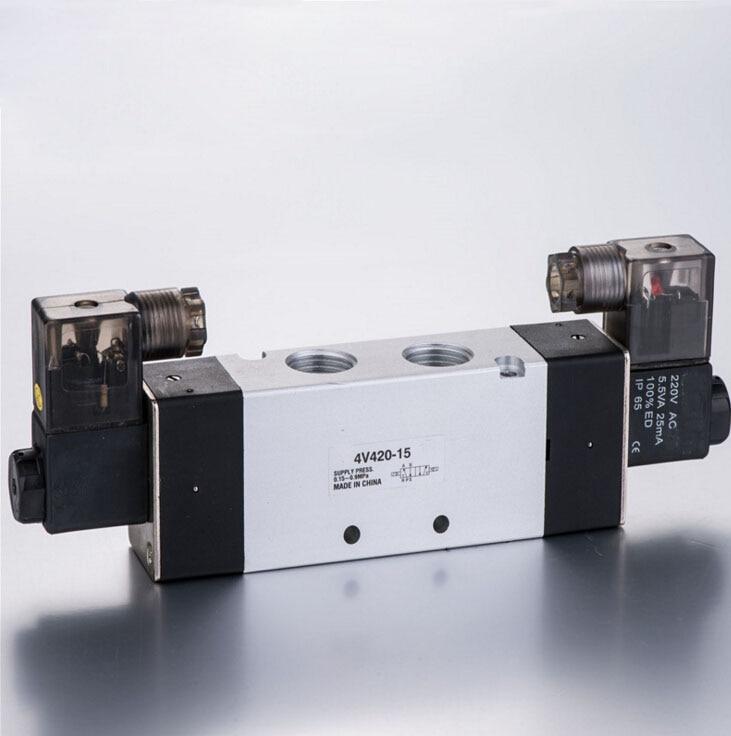 4V420-15 DC24V Pneumatic Solenoid Valve 1/2'' 5/2 Way Valve double coil pneumatic jet chisel jex 24