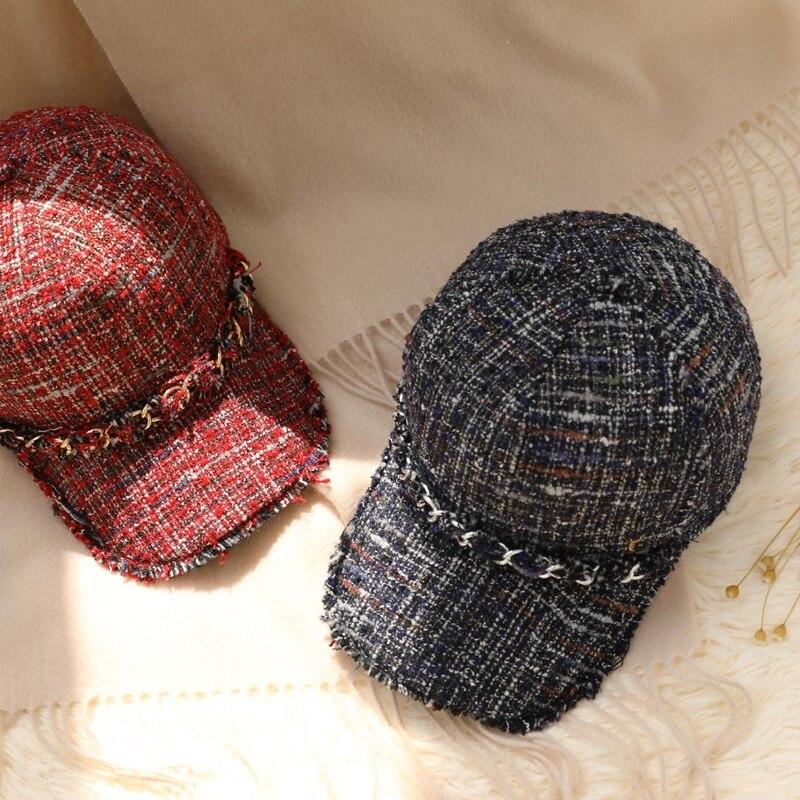 Шерстяные шапки бейсболки женские Зимние Повседневные шапки с жемчугом сплошной цвет - 5