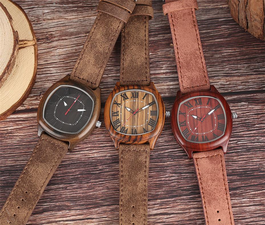 YISUYA Bamboo Wooden Watch Men Quartz Leather Band Analog Creative Watches Roman Numerals Dial Unqiue Shape Fashion Clock Gift (37)