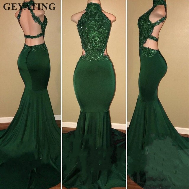 Emerald Green Long Mermaid African Prom Dresses 2k19 for Black Girls  Evening Gowns High Neck Beaded Backless Formal Party Dress 4f7f4cf77cce