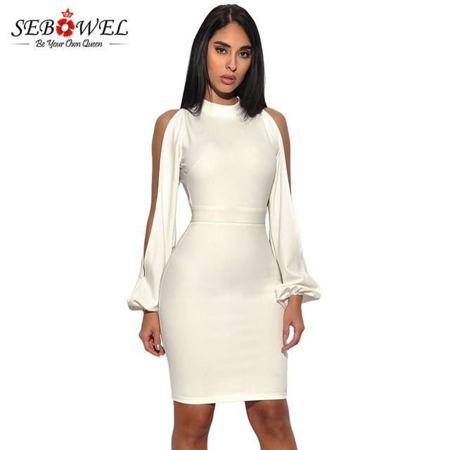 SEBOWEL 2017 Sexy Summer Women Party Dress White Long Sleeve Mini ...