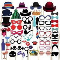 New Fun Photo Booth 58PCS Set PhotoBooth Props Lip Mask Hat Glass Colorful Card On A