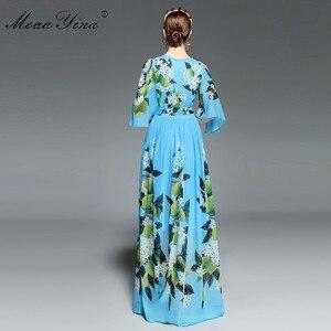 Image 5 - MoaaYina concepteur piste Maxi robe été femmes Flare manches imprimé fleuri citron ceintures loisirs vacances bohême robe élégante