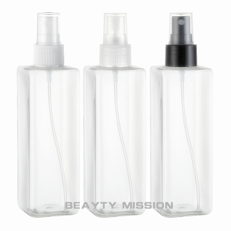 <font><b>250ml</b></font> X 24 transparent Square PET empty plastic hair <font><b>spray</b></font> <font><b>bottles</b></font> containers ,clear cosmetic <font><b>spray</b></font> <font><b>bottle</b></font> container with pump image