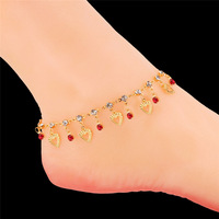 Women Anklet Bracelet Heart Crystal Rhinestone Anklet Chain 18K Real Gold Plated Summer Foot Jewelry Anklet
