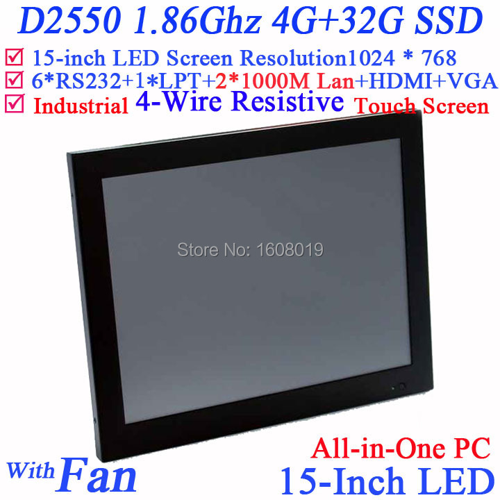 15 Inch restaurant pos systems all in one touchscreen with Intel D2550 1 86Ghz 1024 768