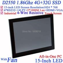 15 Дюймов ресторан pos системы все в одном сенсорный экран с Intel D2550 1.86 ГГц 1024*768 WinXP/7 HDMI 2 * RJ45 6 * COM 4 Г RAM 32 Г SSD