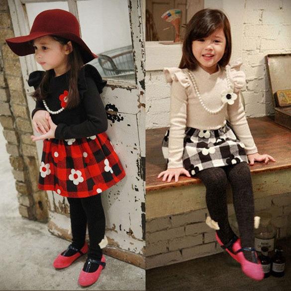 f05c35ca403a 2014 New Spring Winter Baby Kids Girl Clothing Girls Plum Flower Beading  Princess Party Dresses Kids