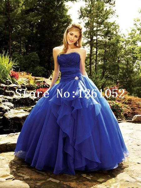 bac2f674980 2015 Attractive Sapphire Blue Sweetheart Ball Gown Quinceanera Dresses With  Beautiful Beading Custom Made