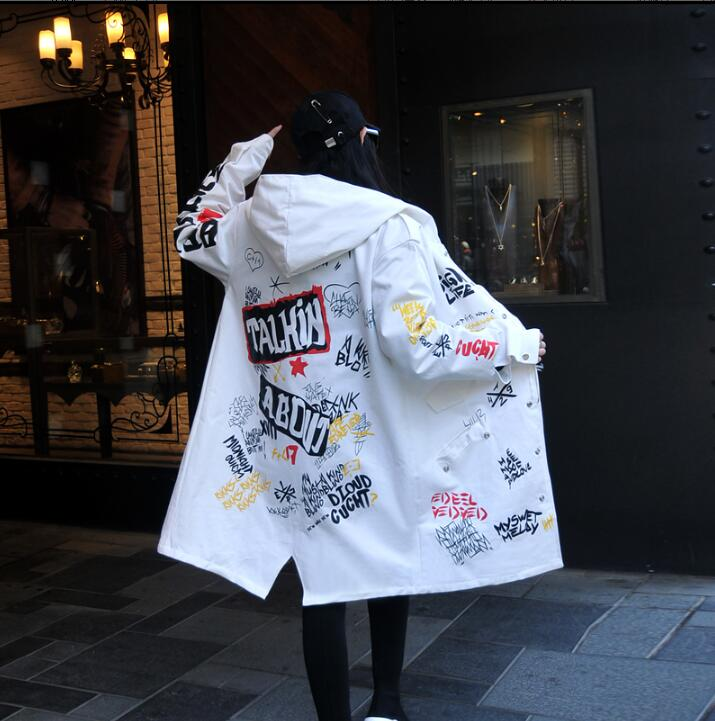 Loose Thin Jacket Windbreaker Hooded Letter Print Female Long-Section Fashion Brand Hot