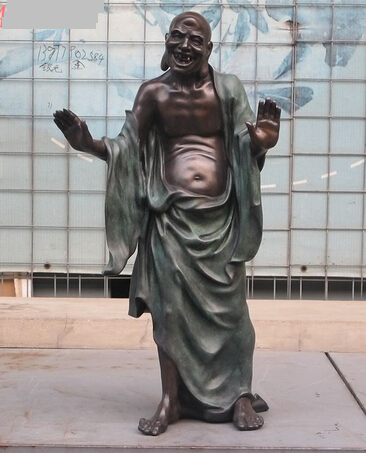 JP S0253 26 Inch China Spirituality Buddha Bronze 18 Arhat Statue Joyful Luck Rohan