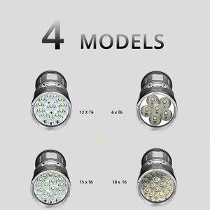 Image 5 - مصباح ليد جيب قوي مع 18 x T6 LED خرزة مصباح كاشف مقاوم للماء مجموعة واسعة استخدام 4x18650 بطارية الإضاءة