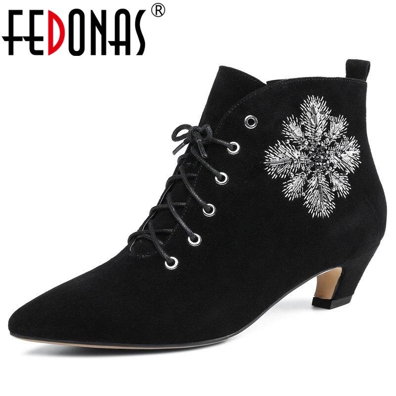 a74da1b7b FEDONAS/новые женские ботильоны, пикантные туфли с острым носком и вышивкой  для вечеринки,