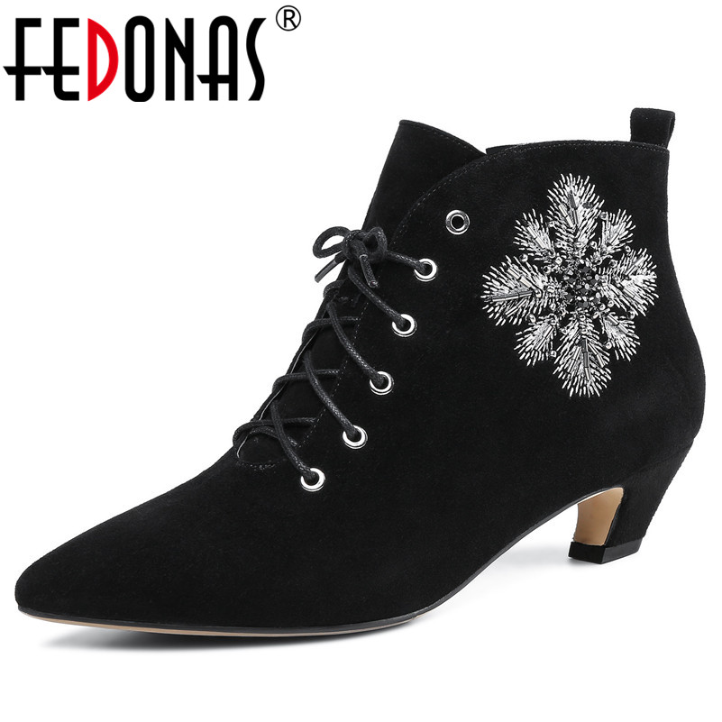 FEDONAS Newest Women Ankle Boots Sexy Pointed Toe Embroider Party Wedding Shoes Woman High Heels Zipper Office Pumps Basic BootsFEDONAS Newest Women Ankle Boots Sexy Pointed Toe Embroider Party Wedding Shoes Woman High Heels Zipper Office Pumps Basic Boots