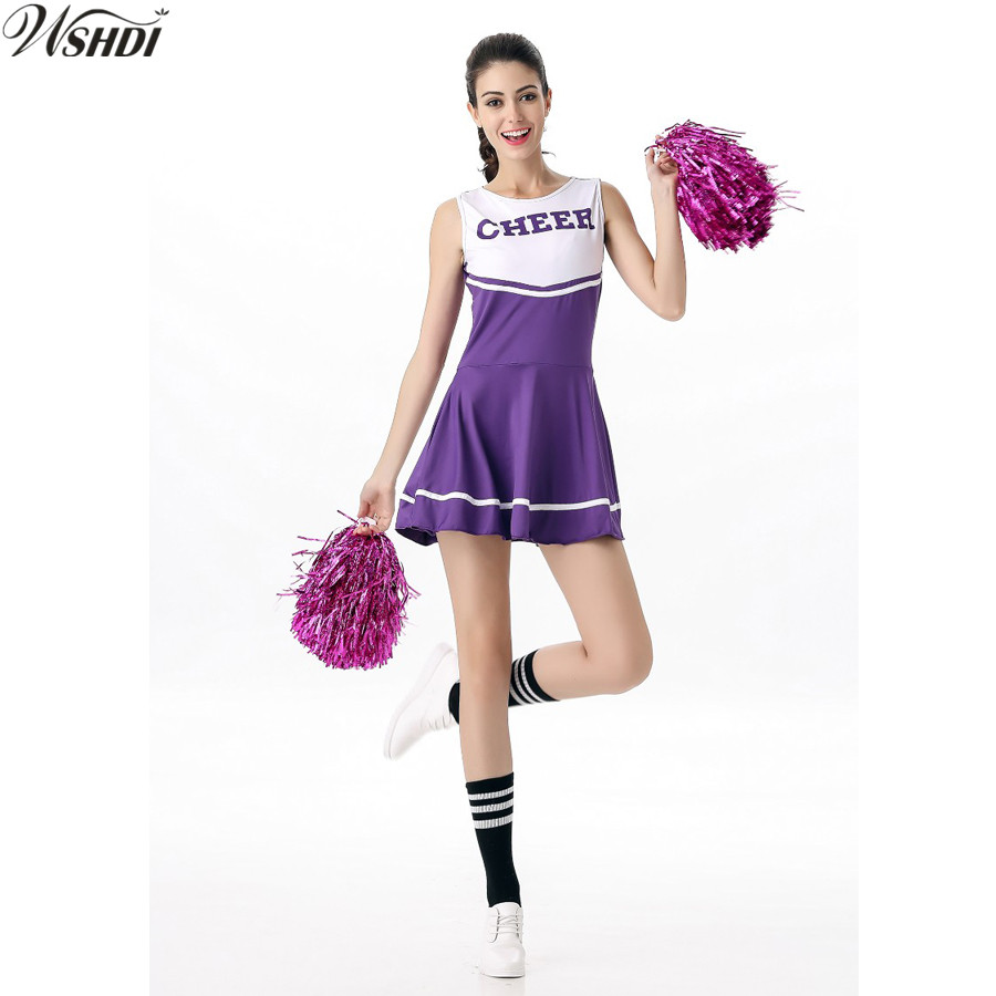 6 Color Hot Sale High School Girls Cheerleading Costume Sleeveless Cheerleader Uniform Sportwear Lady Cheer Fancy Costume
