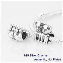 L222 2014 nuevo garantizado 100% de plata de ley 925 2 gatos Screw Core granos del encanto del tapón de la joyería DIY Fit Pandora pulsera del estilo