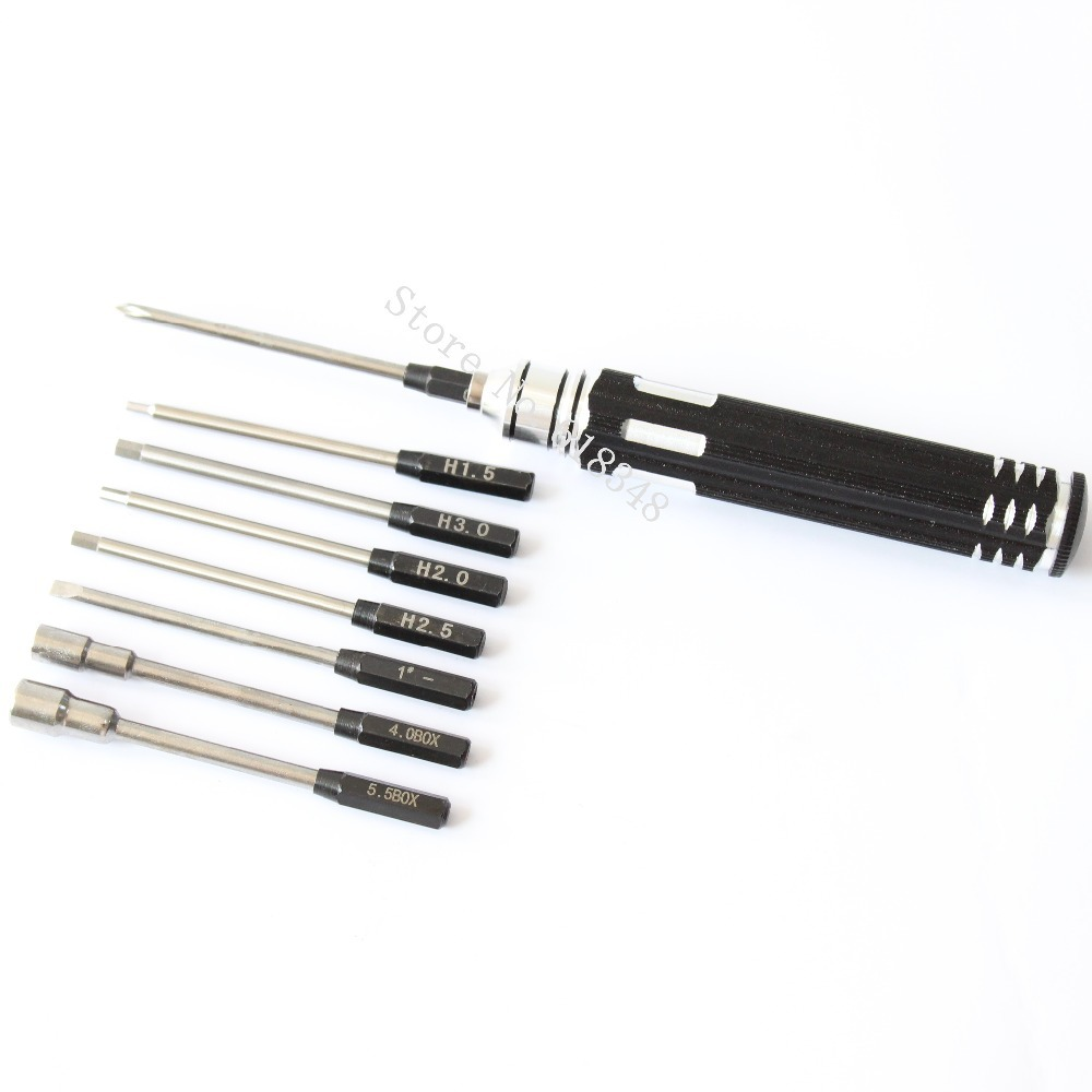 one set metal 8 in 1 screwdriver hex screw driver hobby tools kit for rc cars helicopter plane. Black Bedroom Furniture Sets. Home Design Ideas