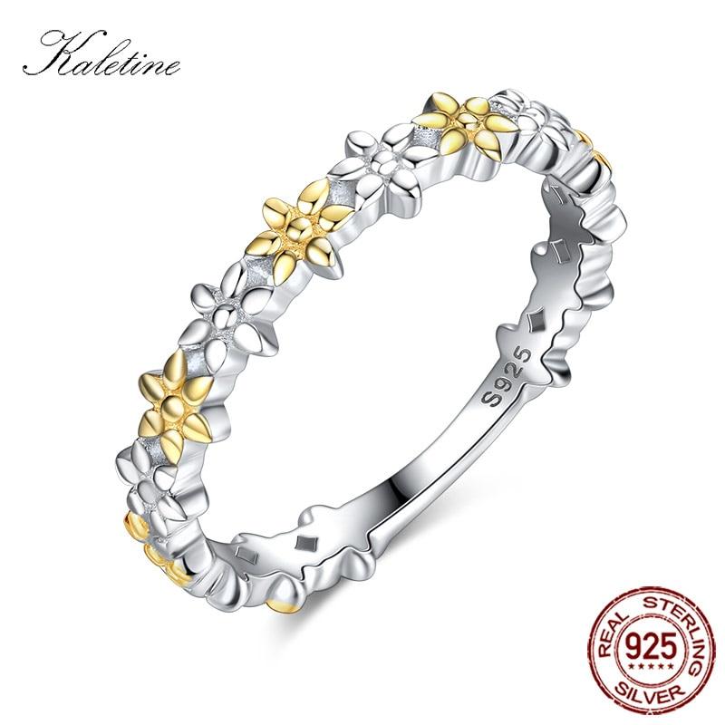 42869df79fe8 Kaletine 925 пробы серебряные обручальные кольца для Для женщин аксессуары  золотой цветок очарование золота кольцо Для