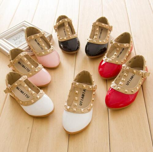 2020 PU Leather Children Kids Girls Princess Shoes Hot Sell Toddler Baby Rivet T-strap Low-heel Kids Mary Jean Shoes Sneakers
