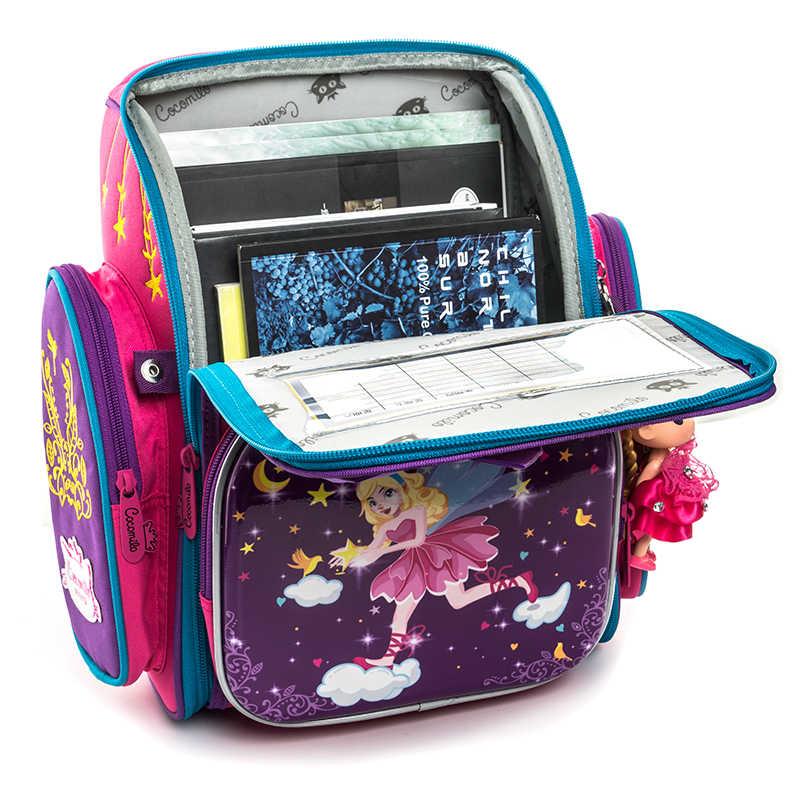 2018 детские школьные рюкзаки для девочек ортопедические Водонепроницаемые рюкзаки розовая сказочная книга принцессы сумка динозавр складной ранец, рюкзак