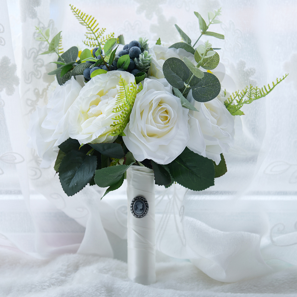 2018 White Tea Rose Artificial Flowers Bridal Bouquet Fake Flowers