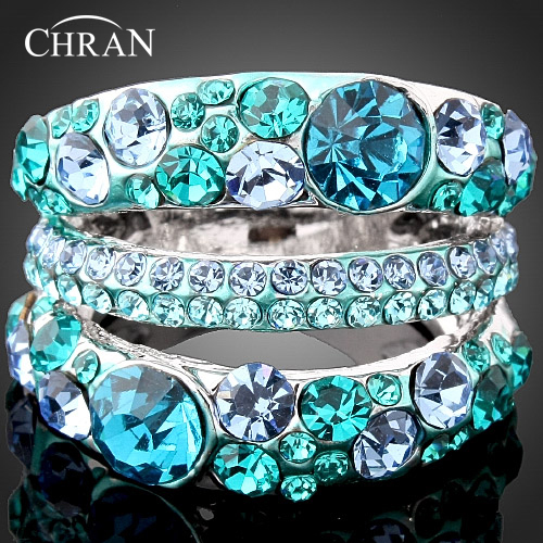 CHRAN Fashion Rhodium Plated Austrian Crystal Women Finger Rings Elegant Ladies Vantine  ...