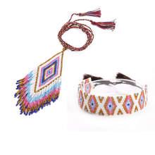 Shinus Jewelry Set Necklace Pendant 2019 New Women MIYUKI Bracelet Boho Delica Beads Geometric Pattern Bracelets Colorful Tassel цены
