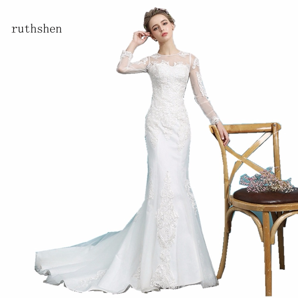 Ruthshen Vintage Princess Mermaid Wedding Dresses Cheap Full Sleeves Appliques Vestidos Baratos 2018 Robe De Mariee Real Photos