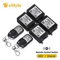RF AC 220V 1000W One Transmitter 4X 1 Channel Relays Smart Wireless Remote Control Switch Black
