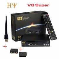 3 pçs/lote freesat V8 Super CAIXA de Receptor de Satélite HD WI-FI DVB-S2 sintonizador freesat v8 Super Combo Suporte USB wi-fi set top caixa