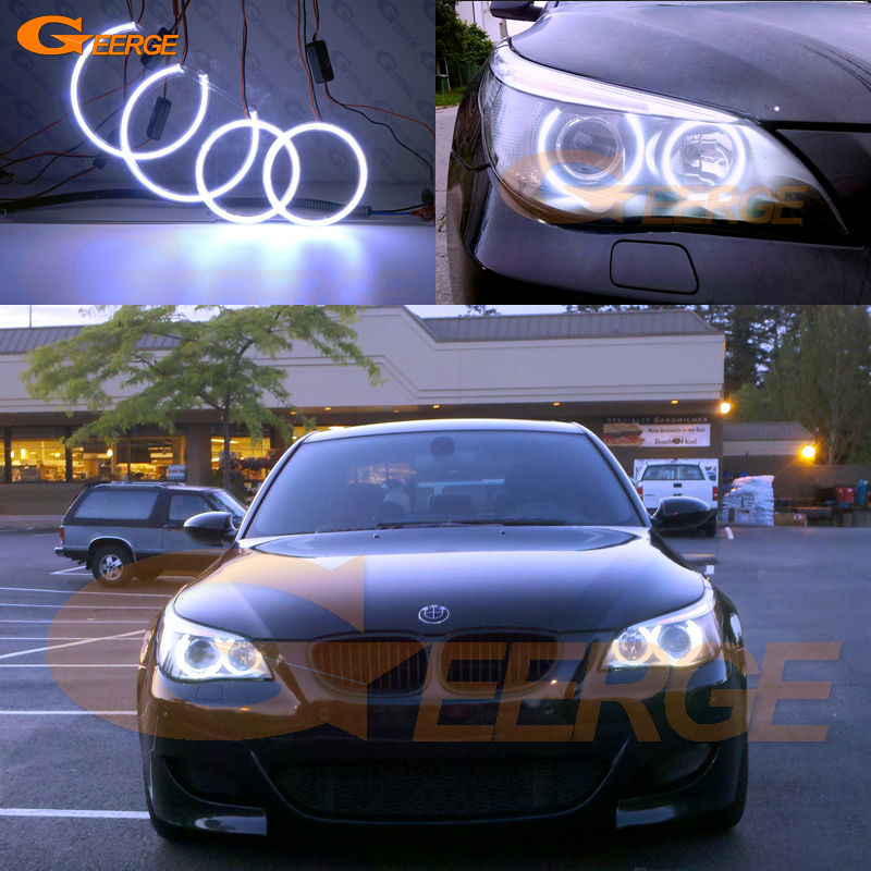 For BMW E60 E61 525I 530I 540I 545I 550I M5 2003-2007 Xenon Headlight Excellent Ultra bright illumination COB led angel eyes kit car bumper grill kit with led fog lights drl angel eyes wires for bmw e60 e61 5 series 525i 530i 545i 550i xi 2004 2007 pdk618